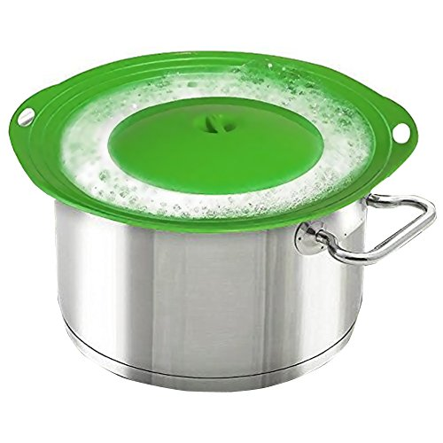 Mibow coperchio antiversamento per pentole e padelle, protegge da ebollizione eccessiva e versamenti sui fornelli della cucina, in silicone senza bisfenolo A, facile da pulire, verde