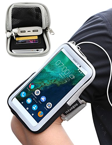 iMangoo Google Pixel XL Armband, OnePlus 2 Armband Sports Pouch Running Pack Armband Gym Wrist Bag Touchscreen Sleeve with Card Slot & Key Holder Wallet Case for Google Pixel XL OnePlus 2 LG G5 Black