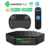 Android 9.0 TV Box, T95Z Plus Amlogic S905X3 Quad-Core Cortex-A53 CPU 4GB RAM 32GB ROM 2.4GHz/5GHz Dual Band WiFi 8K 4K Ultra HD Resolution Bluetooth 4.0 with Backlit Mini Wireless Keyboard