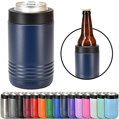 Clear Water Home Goods - 12 oz Stainless Steel Double Wall Vacuum Insulated Can or Bottle Cooler Keeps Beverage Cold for Hours - Powder Coated Navy Blue