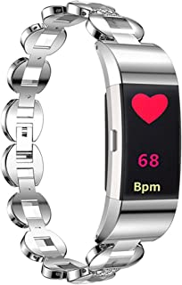Autulet for Dressy Fitbit Charge 2 Bands Stainless Steel Smart Watch Bands for Fitbit 2 Straps Replacement for Fitbit Charge 2 Band for Women