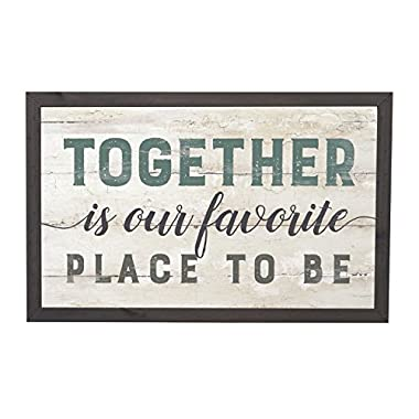 Together Is Our Favorite Place To Be 18 x 11 Inch Solid Pine Wood Farmhouse Frame Wall Plaque