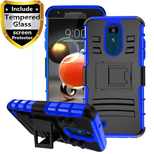 Aetech LG Aristo 2 Case, LG Aristo 3/Rebel 4 LTE/Aristo 2 Plus/K8 2018 Plus/Phoenix 4/Tribute Dynasty/Zone 4/Fortune 2/Risio 3 Case with Tempered Glass Screen Protector Kickstand Phone Cover, Blue