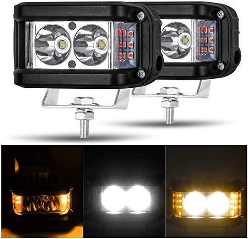 AAIWA Zusatzscheinwerfer, 20 Watt Flut Lichtleiste Side Shooter Bernstein Blitzlicht, 2 STÜCKE Off Road Lichter Backup Fahrlicht, Nebelscheinwerfer für LKW ATV UTV SUV Bootslichter