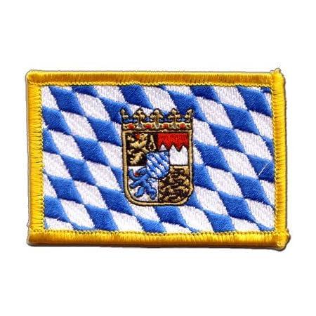 Aufnäher Patch Flagge Deutschland Bayern Mit Wappen 8 X 6 Cm Garten