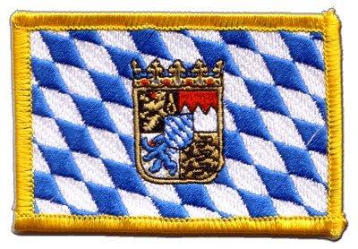 Aufnäher Patch Flagge Deutschland Bayern mit Wappen - 8 x 6 cm