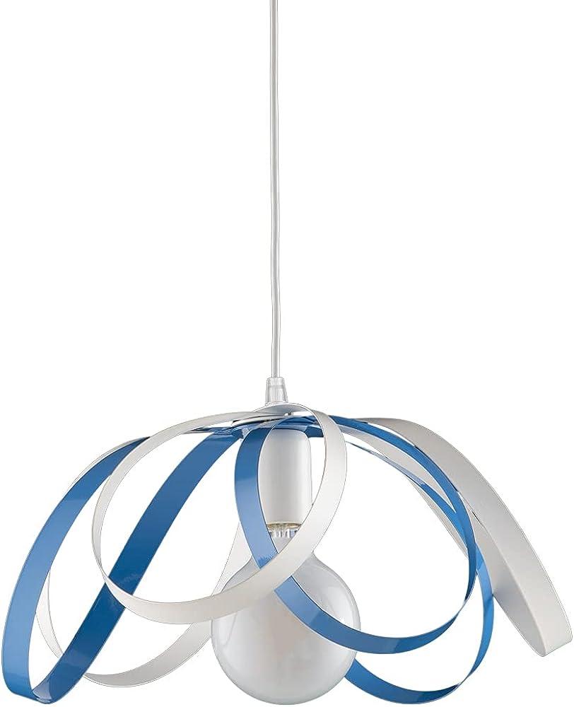 Leolux fiocco, lampadario moderno a sospensione, struttura in metallo colorato, tutto lavorato a mano, BIANCO-AZZURRO