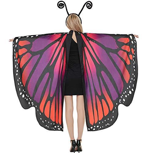 Halloween Schmetterlingsflügel Umhang für Frauen Schmetterling Halloween Kostüm mit Antennen-Stirnband, Schmetterlingsflügel Kostüme Schal - Rot - Mittel