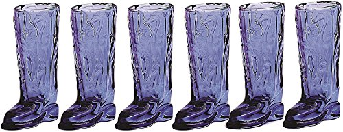 Circleware Kickback Blue Shot Glasses, 1.5 Ounce , Set of 6, Fun Cowboy Boot Shape