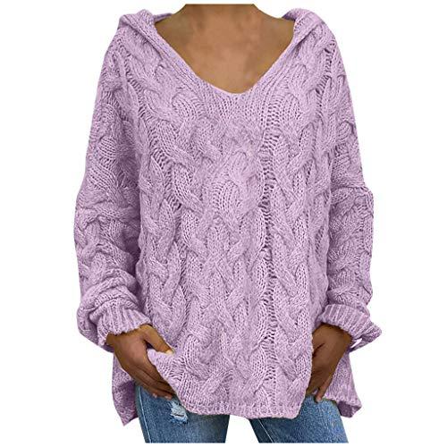 Oversize Sweater Damen Strickpullover Frauen Sexy Pullover Kapuze Langarm Shirt V-Ausschnitt Casual T-Shirt