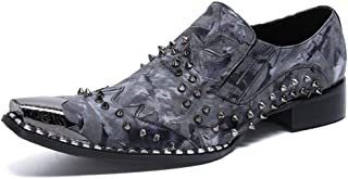 YOWAX Zapatos de Cuero de los Hombres del Metal del Dedo del pie Zapatos de Cuero del Remache del Casquillo de la Manera p...