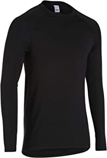 Men's Long Sleeve Cycling Base Layer ColdGear Lightweight Moisture Wicking Crew Neck Black Top