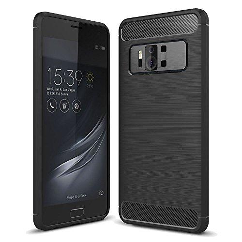 König Design Handy-Hülle kompatibel mit Asus Zenfone AR ZS571KL Silikon Hülle Hülle Sturzsichere Back-Cover Handyhülle - Carbon - Schwarz