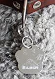 Gravuren.store Hundemarke Pfote Schlüsselanhänger aus Aluminium, Lasergravur beidseitig (Silber)