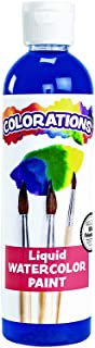 Colorations Liquid Watercolor Paint, 8 fl oz, Blue, Non-Toxic, Painting, Kids, Craft, Hobby, Fun, Water Color, Posters, Cool Effects, Versatile, Gift