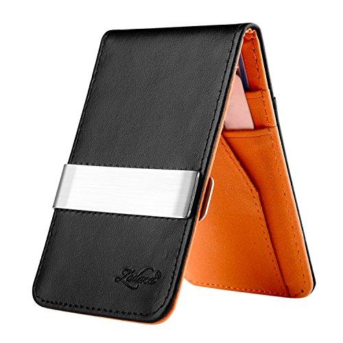 Zodaca Horizontal Genuine Leather Money Clip Wallet, Black/Orange