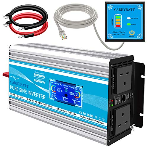 CARRYBATT 2000W Pure Sine Wave Power Inverter DC 24V to AC 230V 240V LCD display Converter With...