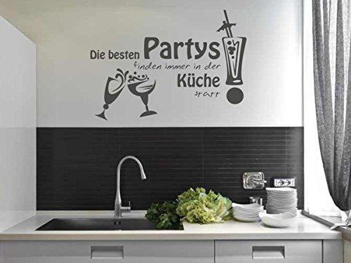 Wandtattoo-bilder® Wandtattoo Die besten Partys finden immer in der Küche statt Nr 4 Größe 50x35, Farbe Schwarz