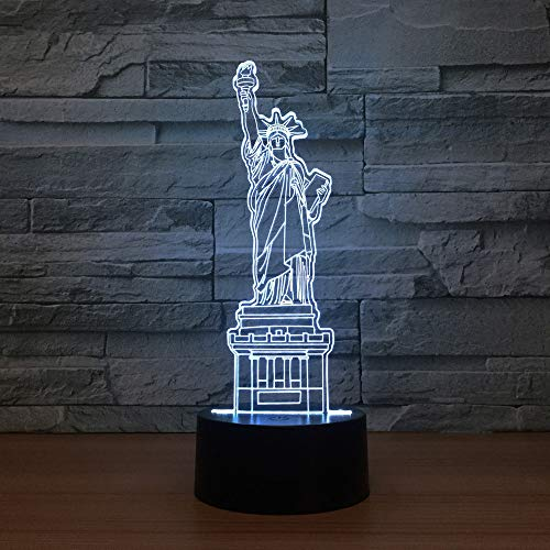 Remote Control Lamp 3D Visual Led Micro USB Desk Night Light 7 Colors with Telecontroller Reducing Famous Building Signs Model Statue of Liberty On Acrylic Board