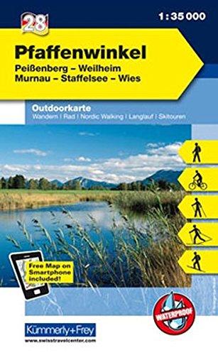 Deutschland Outdoorkarte 28 Pfaffenwinkel 1 : 35.000: Peißenberg, Weilheim, Murnau, Staffelsee, Wies. Wanderwege, Radwanderwege, Nordic Walking (Kümmerly+Frey Outdoorkarten Deutschland)
