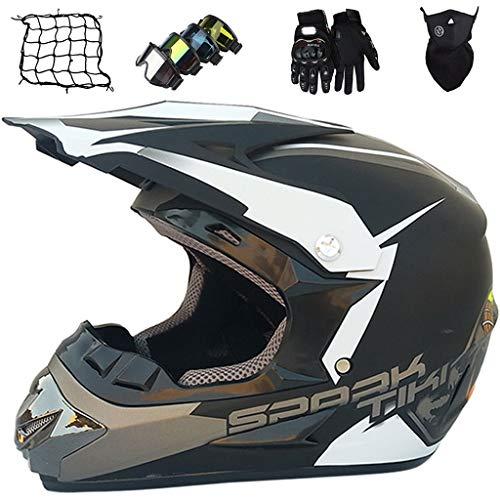 Casco Motocross, MJH-01 ECE/DOT Certificación Casco de Moto para Niños Downhill.Cascos de Cross de Moto Set con Gafas/Guantes/Máscara/Red Elástica