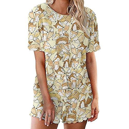 junmo shop Conjunto de pijama corto con volantes para mujer, de manga larga y pantalones cortos, ropa de dormir, Fox, Bronce.,