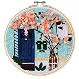 MEIAN Embroidery Kit for Adults Beginners with Flower Stamped, Cross Stitch Starter Kits with Bamboo Embroidery Hoop Easy to Follow