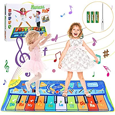 Kids Musical Mats, Vimpro Musical Piano Mat 19 Keys Keyboard Play Mat Children Foot Touch Play for Kids Baby Girls Boys Educational Toy - 50.7'' X18.9'' from Estela_Store
