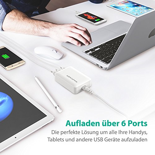 RAVPower Quick Charge 3.0 USB Ladegerät Schnellladegerät, 6-Port 60W USB Ladestation für iPhone 11 Pro Max XS Max XR X 8 7 6 Plus, iPad, Galaxy S9 S8 Plus, Huawei, LG, HTC, Smartphones, Tablet, usw.