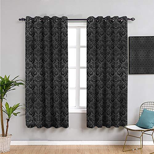 SONGDAYONE Cortinas opacas de color gris oscuro, 213,4 cm de largo, color negro damasco arabesco y elementos florales, ornamentos antiguos, vintage, insonorizados, color negro y gris