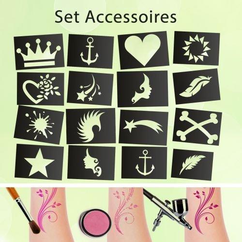Tattoo Schablonen SET Accessoires (16 Stück) Selbstklebend Kinderschminken Airbrush