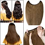 Elailite Extensiones de Hilo Invisible Pelo Natural Lisa Cabello Humano Mecha Remy Human Hair - 40 cm (60 g) #06 Castaño Claro [Grueso Simple]