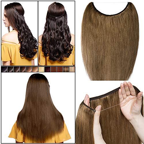 Extensions de cheveux humains invisibles - Sans clip - Remy - Cheveux raides - Élastique - Demi-tête réglable