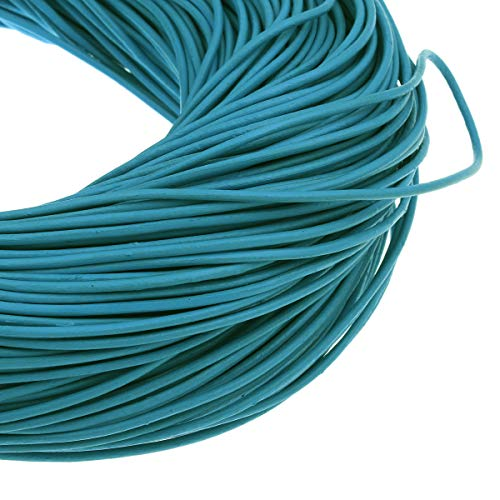 Perlin Lederband Rund Lederschnur Lederriemen Ø 2mm Blau 2,5m Rindleder Bastelband Schmuckband C148