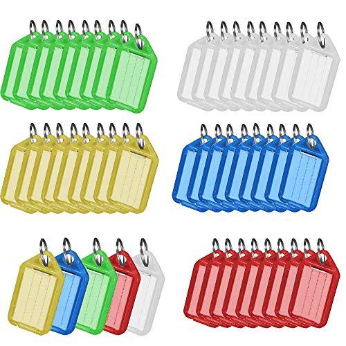 Identificador Llaves, 50 Piezas Llavero de Plástico, Etiqueta de Llavero, Con Anillo Partido,el Plastico, Para Etiqueta de Equipaje de Identificación(5 Colores 10 Piezas Cada Uno)