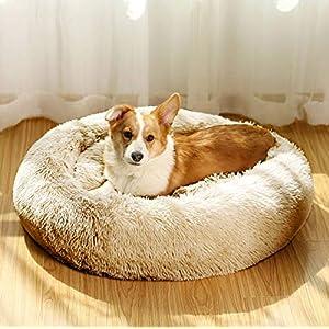 JMHUND Shag Vegan Fur Donut Comfortable Dog Bed for Medium Dogs, Large Calming Cuddler Ultra Soft Washable Pet Cat Mat, Round Fluffy Self-Warming Cushion Bed,32″ Taupe