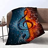 Lmorey Music blankte, Treble Clef in fire and Water Super Soft Throw Blanket for Bed Couch Sofa Lightweight Travelling Camping 60 x 80 Inches Throw Size for Kids Adults