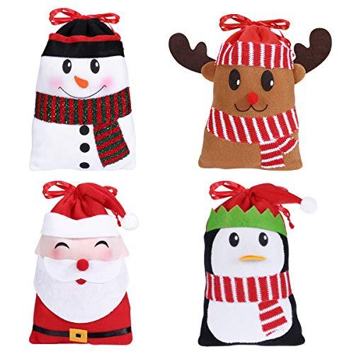 Hemoton 12PCS Christmas Candy Bags Gift Treat Bags for Favors and Decorations Super Cute Snowman Santa Claus Deer Penguin