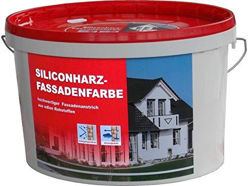 10 Liter hochdeckende Siliconharz-Fassadenfarbe aus edlen Rohstoffen, Premium-Qualität, für außen und innen, abtönbar,