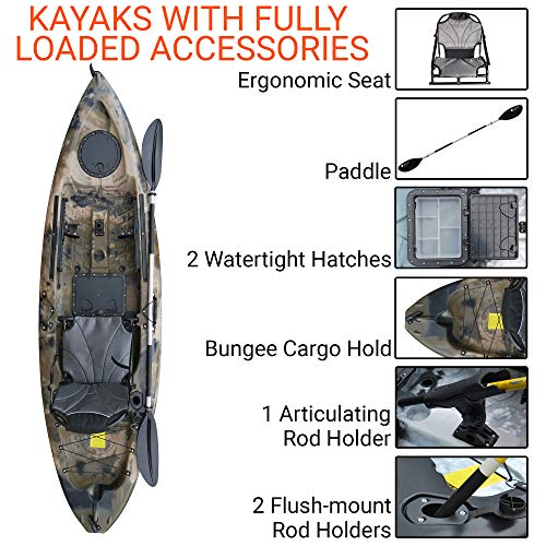 """BKC FK285 Angler 9'2"""" Solo Sit-On-Top Kayak w/Upright Back Support Aluminum Frame Seat -Paddle and Fishing Rod Holders Included"""