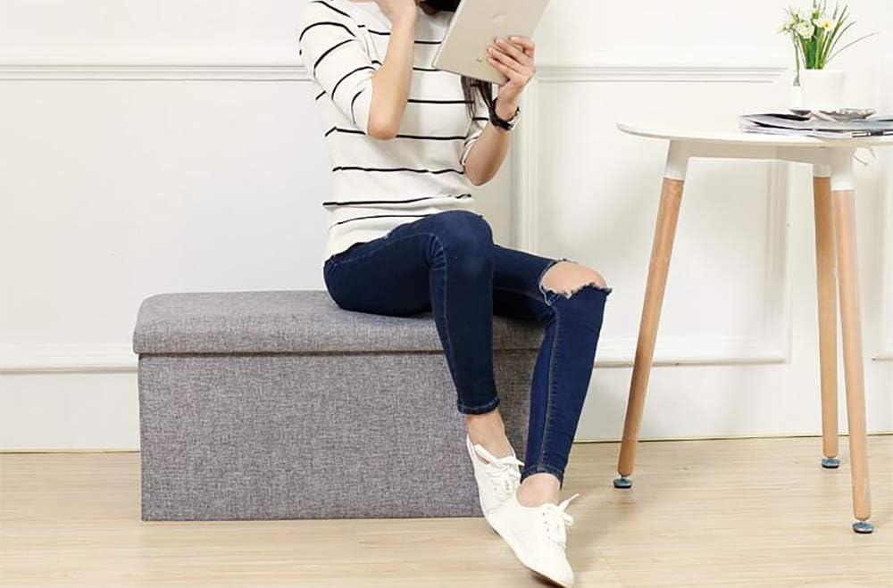 GST Tabouret de Rangement Pliable – Chaise rectangulaire Multifonction, 76 x 38 x 38 cm Style européen L Gris Gris
