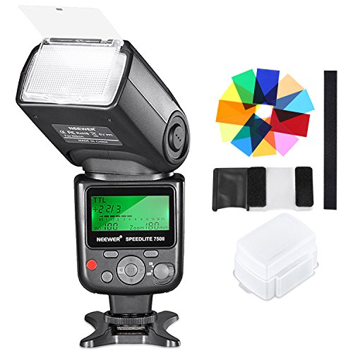 Neewer 750II TTL Flash Speedlite con Difusor Duro, 12 Filtros de Color, Kit de Limpieza de Microfibra para Nikon D7200 D7100 D7000 D5500 D5300 D5200 D5100 D5000 D3300 D3200 y Otras Nikon Cámaras DSLR