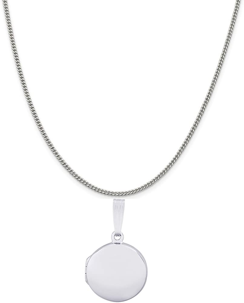 Rembrandt Charms 14K White Gold Plain Circle Locket Charm on a 16, 18 or 20 inch Rope, Box or Curb Chain Necklace