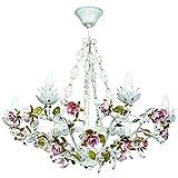 Lámpara colgante Florentiner de cristal transparente, estilo clásico, metal, 60 cm...