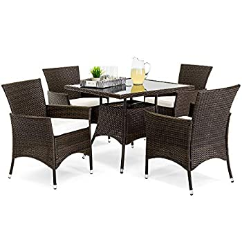Best Choice Products 5-Piece Indoor Outdoor Wicker Dining Set Furniture for Patio Backyard w/Square Glass Table Top Umbrella Cutout 4 Chairs - Cream