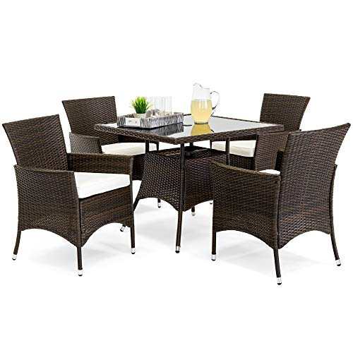 Best Choice Products 5-Piece Indoor Outdoor Wicker Dining Set Furniture for Patio, Backyard w/Square Glass Table Top, Umbrella Cutout, 4 Chairs - Cream