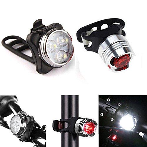 kashyk LED Fahrradlicht Set,StVZO Zugelassen USB Fahrradlampe Wiederaufladbare Wasserdicht Frontlicht Vorne Licht und Rücklicht Set, 3 Licht-Modi, Fahrradlichter für Nachtfahrer Radfahren