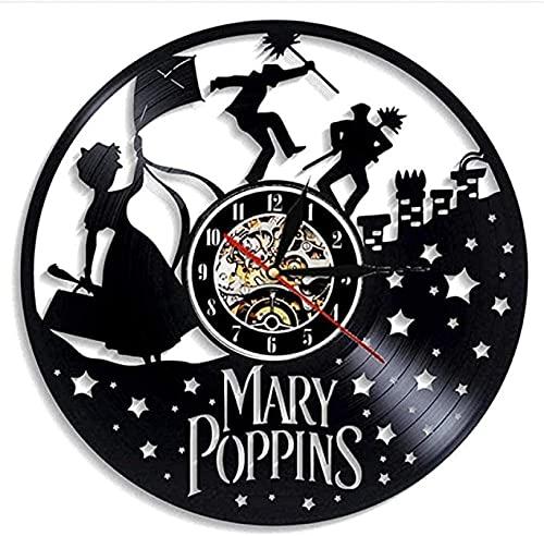 """Mary Poppins Reloj De Pared con Registro De Vinilo Reloj De Pared LED Reloj De Cuarzo De 12"""" Lámpara De Noche Colgante Creativa Reloj De Pared Luminoso De 7 Colores"""