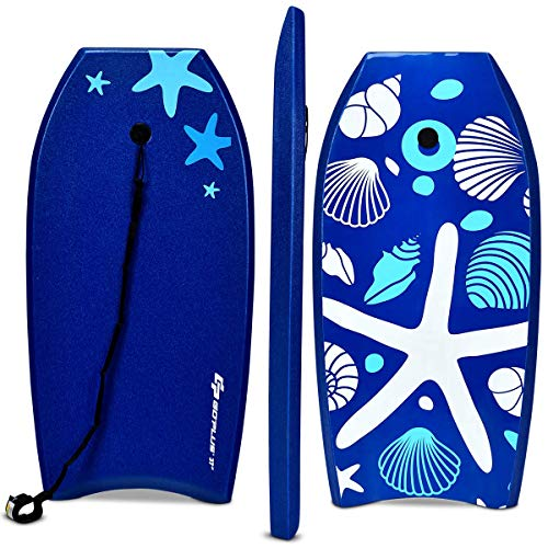 Goplus Super Bodyboard Body Board EPS Core, IXPE Deck, HDPE Slick Bottom with Leash