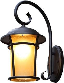Pinjeer E27 Al Aire Libre Jard/ín Linterna de Vidrio Vintage IP42 Impermeable Antioxidante Pilar Luz Aluminio Fundido Iluminaci/ón Exterior Poste de luz Puerta Patio Paisaje Columna Decorativa L/ámpara